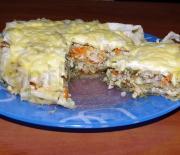 Ачма мясная (слоеный пирог из лаваша)