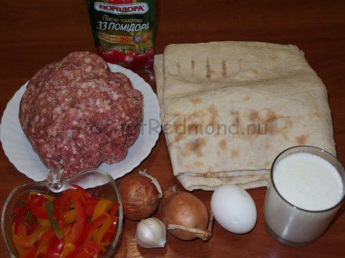 Ингредиенты для лазаньи из лаваша