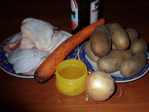 Ингредиенты для приготовления пьяной курицы в пиве