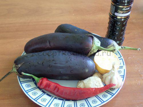 Ингредиенты для приготовления баклажанов в имбирном соусе