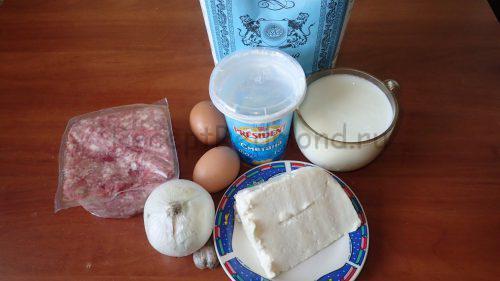 Ингредиенты для приготовления блинчиков-пирожков треугольником