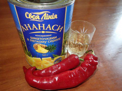 Ингредиенты для приготовления острого ананасного соуса