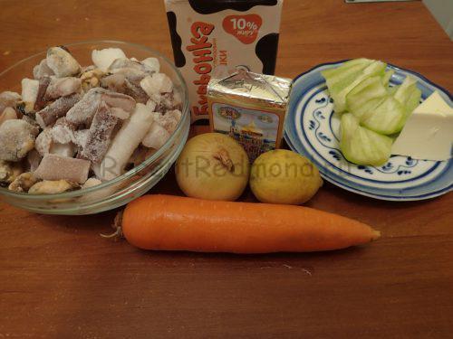 Ингредиенты для приготовления супа из морепродуктов со сливками