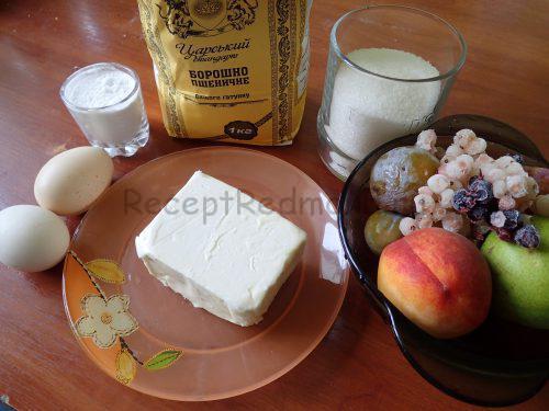 Ингредиенты для приготовления фруктово-ягодного тарта