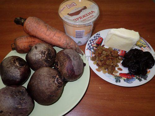 Ингредиенты для приготовления теплого салата с черносливом и изюмом